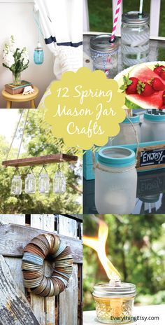 12 Spring Mason Jar Crafts..so beautiful and easy!  I have a ton of mason jars already!  #masonjar #diy