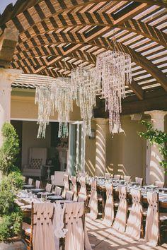 LOVE the fabric weave on the chairs // Ruffled - photo by http://daverichardsphotography.com/ - http://ruffledblog.com/west-hills-california-wedding/ - Ruffled