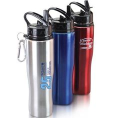 24 oz. stainless steel sports bottle with retractable mouth piece. Easy to use with just a flick of the thumb. Includes a matching carabiner for the active on the go person. $6.57