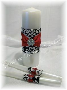 Red, black and white wedding