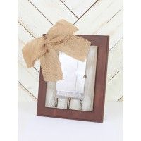 """This frame is perfect anywhere in your house. From the mantel to a bedside table, the burlap bow will go great anywhere!   - 11 1/2"""" L X 9 1/2"""" W   - holds 4"""" X 6"""" photo   - made in USA"""