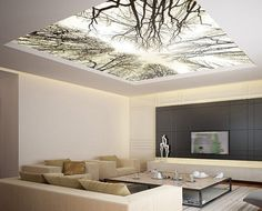 Ceiling STICKER MURAL sky trees forest airly air decole door Wallnit, $149.99