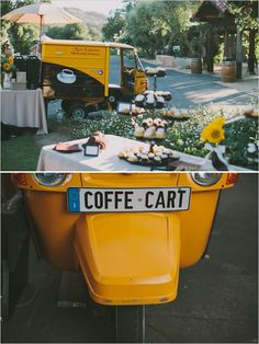 coffee cart rental for outdoor reception from Moto-Espresso Coffee Cart