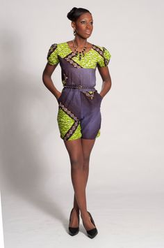 African Print Jumpsuit With Short Sleeve by Dorisdey on Etsy