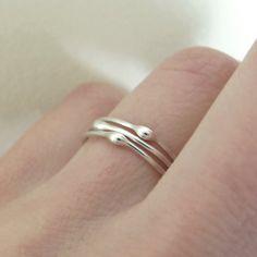 Sterling Silver Stacking Ring Set - Rain - Set of Three via Etsy