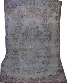 Medallion Grey and Cocoa Overdyed Vintage Turkish Carpet.