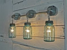 Blue Green Vintage Mason Jar Light