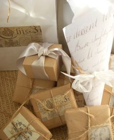 brown paper packages tied up  with string............