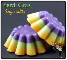 Mardi Gras inspired soy melts! A festive and fun fragrance with fresh citrus and white musk.    3 pack of Mardi scented wax melts
