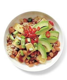 Tofu and Avocado Rice Bowl recipe from realsimple.com #myplate #protein #vegetables