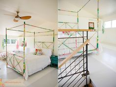 bed frames, fabric wrap, canopy beds, fabric scraps