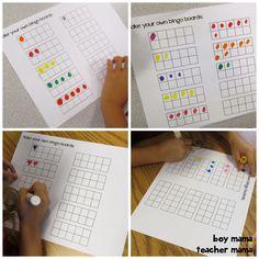 Math game for kids:  Printable Ten Frame Bingo