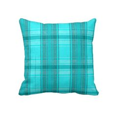 Trendy, classic and whimsical pillow. Beautiful pastel sky blue, aqua turquoise and bright teal plaid tartan design. Colorful, funky and modern deco pattern. Vintage retro style motif for the hip fashionista, the fashion trend setter, or abstract grunge decor lover. Cute and fun birthday present or Christmas gift. Classy and chic pillow for the master or children's bedroom, college dorm, nursery, living or family room, log cabin, RV, boat, beach house, country cottage or vacation home