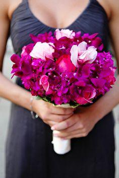 bright flowers to go w. dark grey bm dresses
