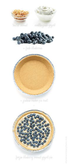 Frozen Blueberry Coconut Yogurt Pie  #food #pie