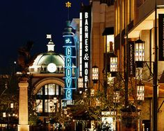 The Grove at night. I love the lighting and design.    The Grove, Hollywood CA favorit place, california dreamin, farmers market, shops, the grove los angeles, los angeles california, places, travel, grove mall