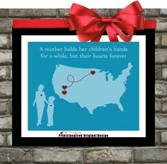 Gift For Mom Birthday Distance Map Hearts Quotes by Printsinspired