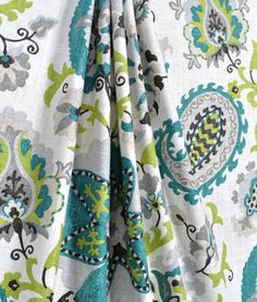 P. Kaufmann Ladbroke/Cir Peacock Fabric. Aqua / Turquoise blue shade suzani print with lime green and grey accents. Available at Onlinefabricstore