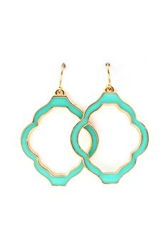 Madison Cutout Earrings in Turquoise bling, fashion, turquois earring, cloth, accessori, turquoise earrings, earrings in style, closet, cutout earring