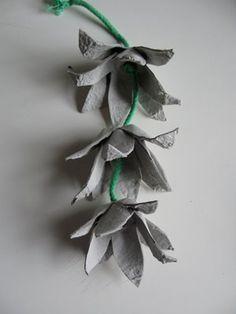 Flower garland made from egg cartons.