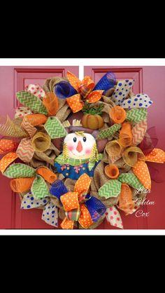 Fall Scarecrow Burlap Wreath