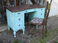 Turquoise and Brown Desk and Chair