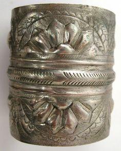 Old worn silver hallmarked Siwa cuff, Egypt.