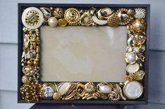 Handmade vintage jewelry mosaic frame,  mosaic frame