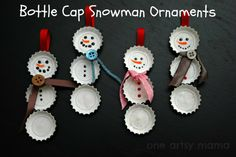 One Artsy Mama: Bottle Cap Snowman Ornaments@Julie, so cute!