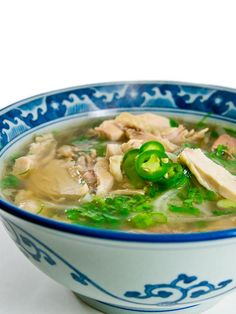 Phở Gà (Vietnamese Chicken Noodle Soup) with a great method for making the chicken broth