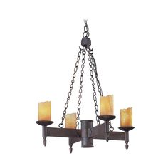 Troy Lighting Chandelier with Beige / Cream Glass in Weathered Rust Finish | F2584 | Destination Lighting