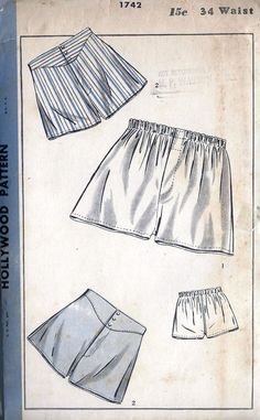 1930s Mens Boxer Shorts, Underwear Vintage Sewing Pattern, Hollywood 1742 Waist 34""