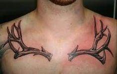 Deer Antler Tattoo On Chest