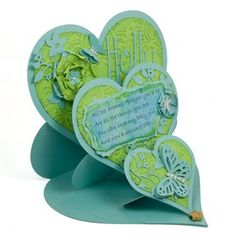 Triple Heart Easel Card from Cardmaking Paradise, UK