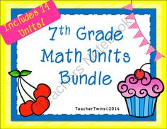 7th Grade Math Units Bundle Common Core Math from Teacher Twins on TeachersNotebook.com -  (1632 pages)  - This bundle includes 14 units to teach the 7th Grade Common Core Curriculum. Each unit can be purchased separately in our store.