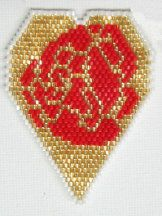 Rose Filled Hearts with Oriental Flair Pendant Pattern by Bead Art by Ronit at Bead-Patterns.com bead pattern, heart bead, pendant pattern, pattern tutori