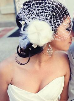Wedding bird cage veil, vintage lace, feathers