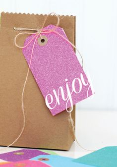 Neon glitter DIY tags add a fun pop to presents.
