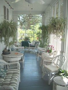 White wicker ideas for screened porch in new house
