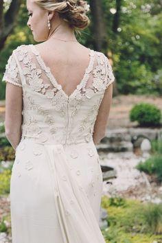 Floral detailed wedding dress: http://www.stylemepretty.com/virginia-weddings/norfolk/2014/09/18/virginia-hermitage-museum-wedding/ | Photography: Echard Wheeler - http://echard-wheeler.com/