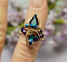 Deep Purples and Blues Vintage Crystal Handmade Ring by MyWiredImagination, $75.00