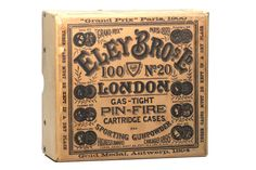 20 gauge pinfire shotshells manufactured by Eley Bros Ld. They date to the early 1900′s.