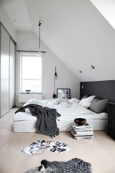 Dream bedroom, bed, black and white, interior, magazine, plant, white, chambre, noir et blanc