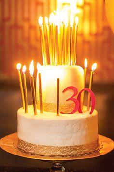 Pink  Gold Bubbly 30th Birthday Party // Hostess with the Mostess® 30th birthday parties, 30th birthday decorations, birthday cake 30, 30 birthday cake, 30th birthday party, 30th cake, 25th birthday, gold birthday cake, 30th birthday cakes
