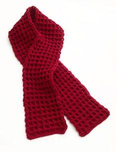 Waffle Stitch Crochet Scarf (free pattern from Lion Brand)