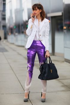 Adore Elettra Wiedemann in Equipment top and saucy metallic pants