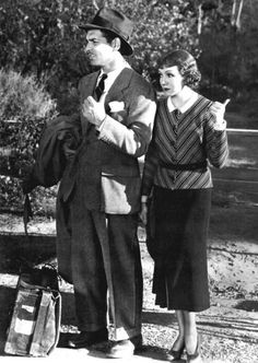 Clark Gable & Claudette Colbert in ''It Happened One Night'', 1934