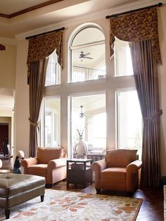 Perfect treatment for those super tall tricky windows. living rooms, famili, tall window, family rooms, window design, high ceilings, window treatments, stori window, curtain