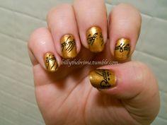 geek, nail polish, nail tech, nail designs, nail arts, black nails, lotr nail, ring nail, nailsto rule