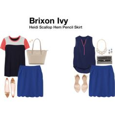 Brixon Ivy Heidi Scallop Hem Pencil Skirt- add a pop of color down below to help even out a busty client